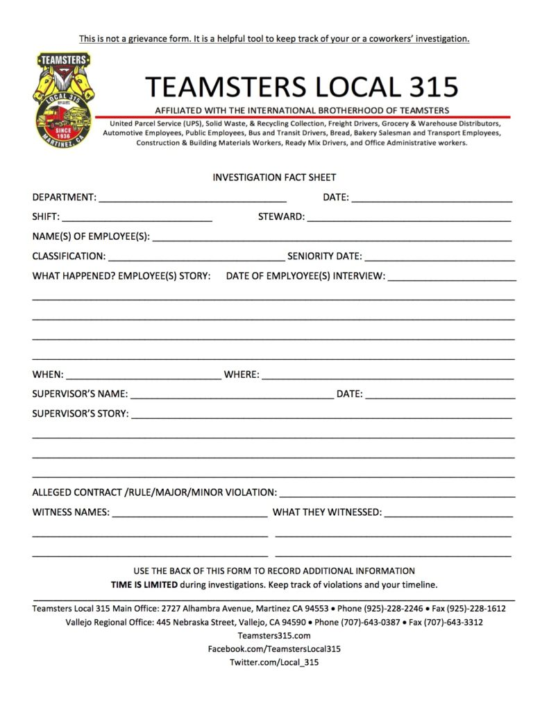 Stewards – Teamsters Local 315