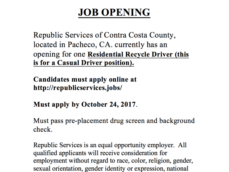 Job Announcement: 5 Openings at Republic Services