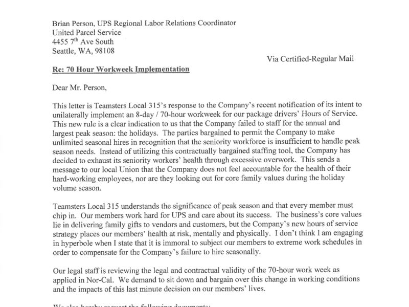 Cease-and-Desist Letter to UPS re: 70 Hour Workweek Implementation