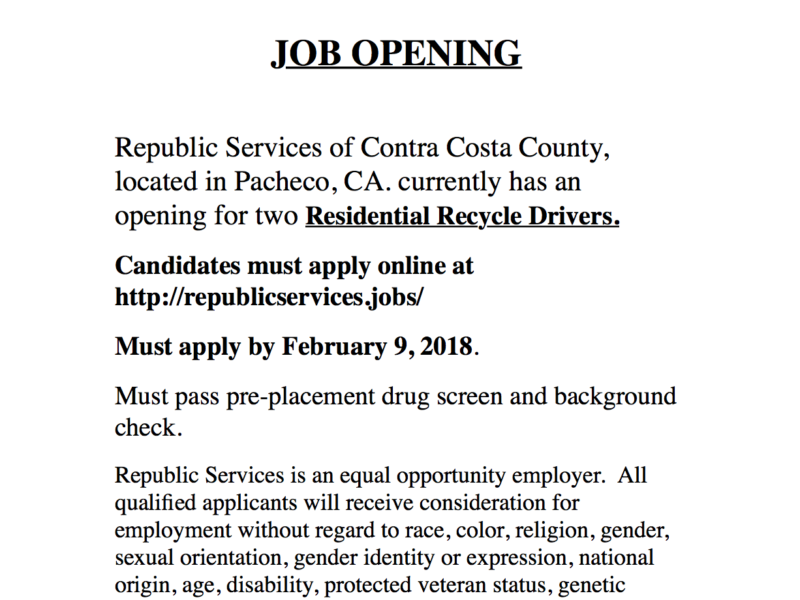 Job Openings: 2 Residential Recycling Drivers