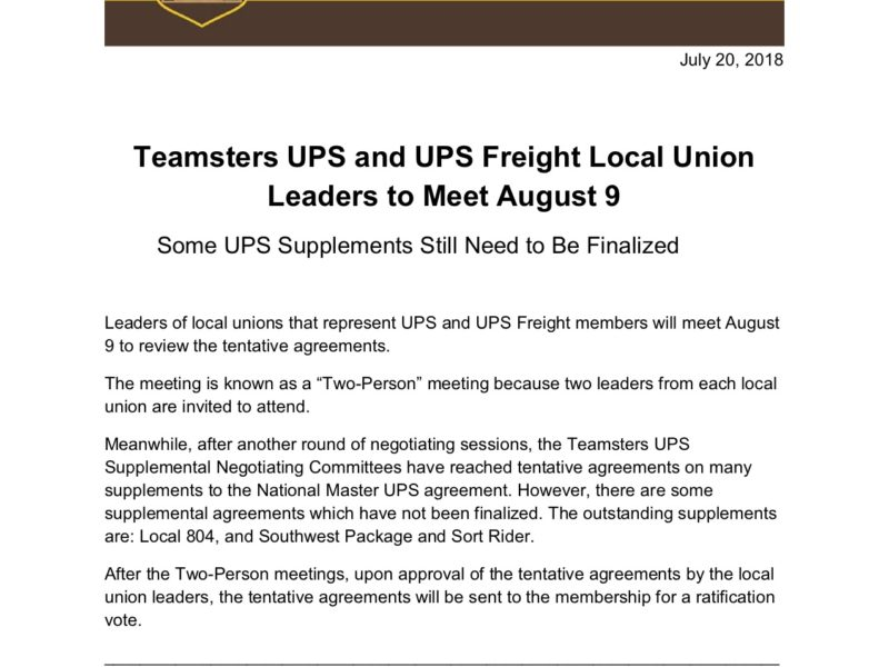 UPS Update: Teamster UPS and UPS Freight Leaders to Meet August 9th
