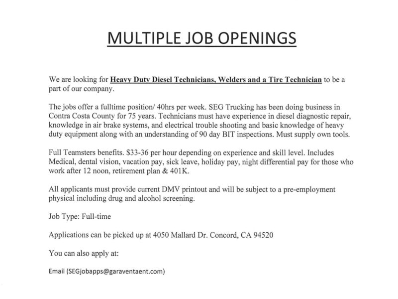 JOB OPENING: Heavy Duty Diesel Technicians, Welders, and a Tire Technician