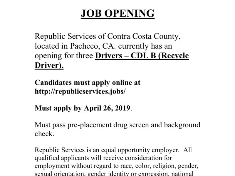 Republic Services Now Hiring in Pacheco!